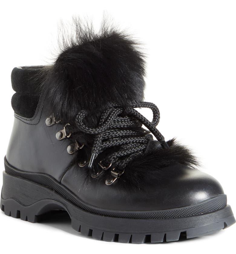 PRADA Genuine Shearling Trim Hiking Boot, Main, color, BLACK