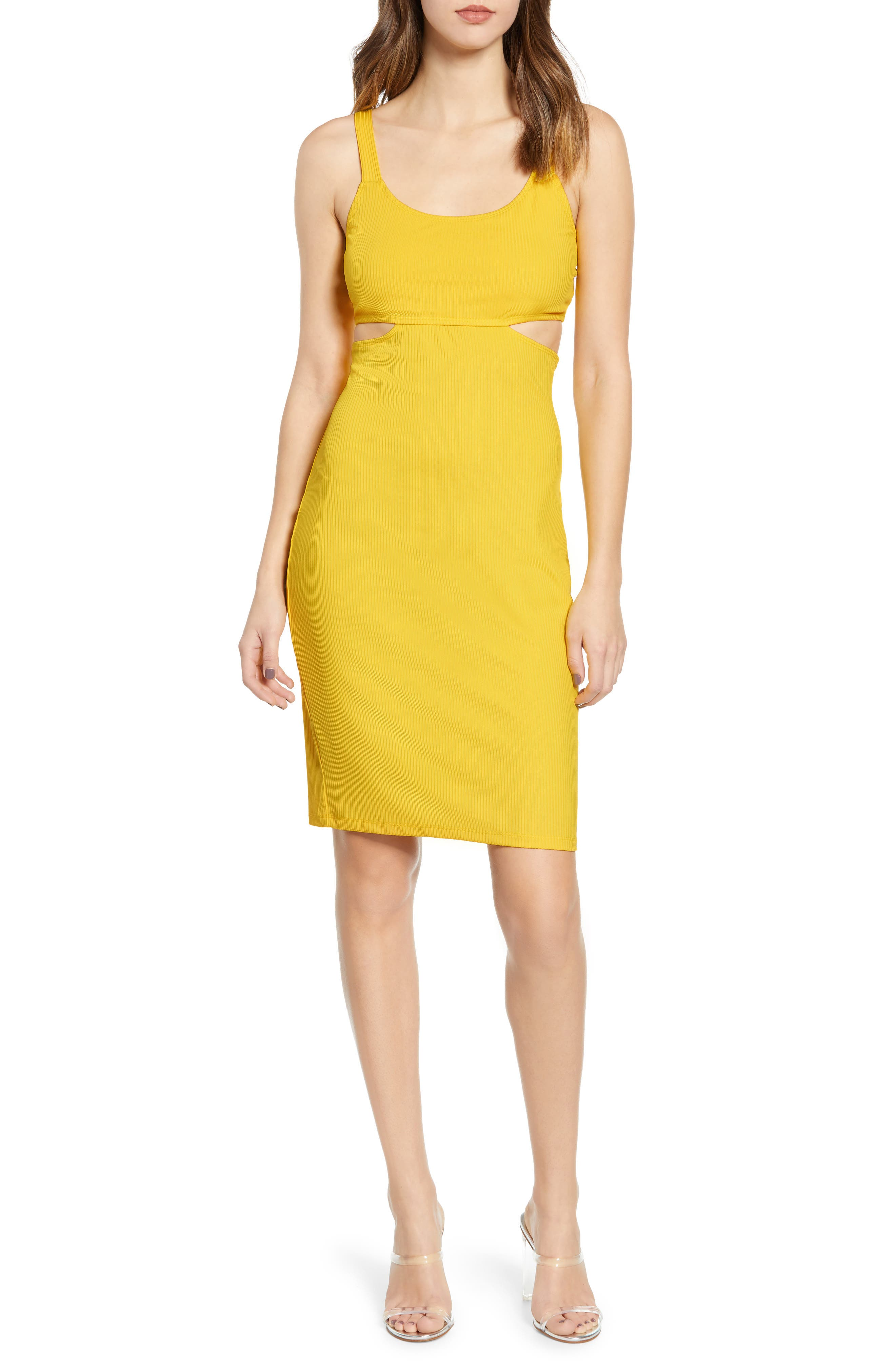 Leith Cutout Ribbed Body-Con Dress, Yellow