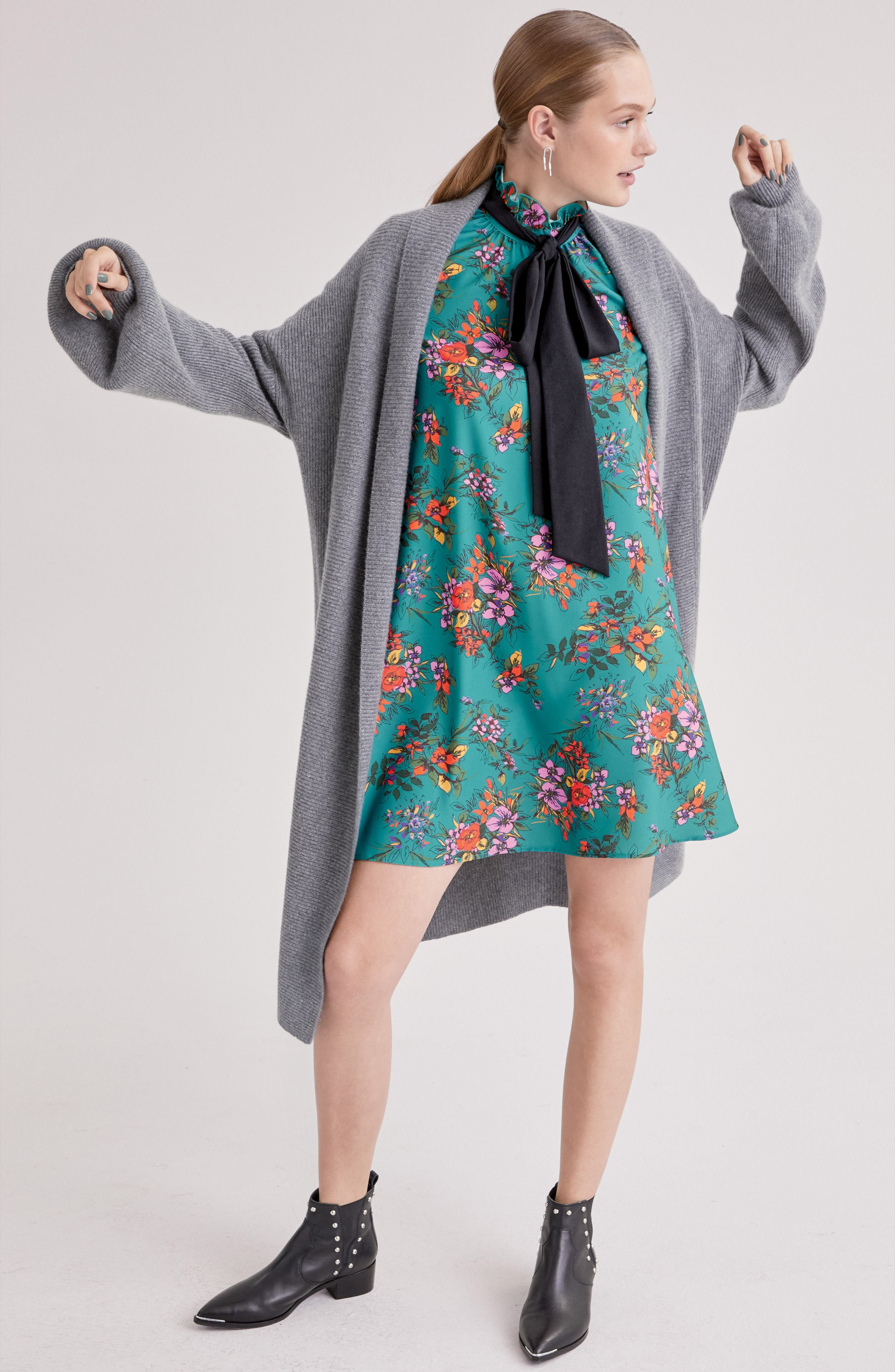 ,                             Blouson Sleeve Long Cashmere Cardigan,                             Alternate thumbnail 7, color,                             032