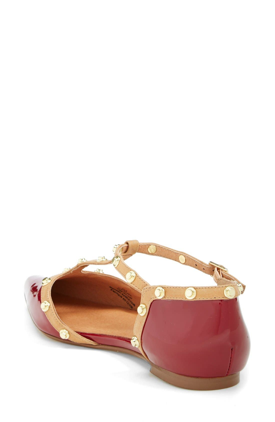 ,                             'Olson' Pointy Toe Studded T-Strap Flat,                             Alternate thumbnail 64, color,                             605