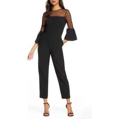 Eliza J Dot Mesh Bell Sleeve Jumpsuit, Black