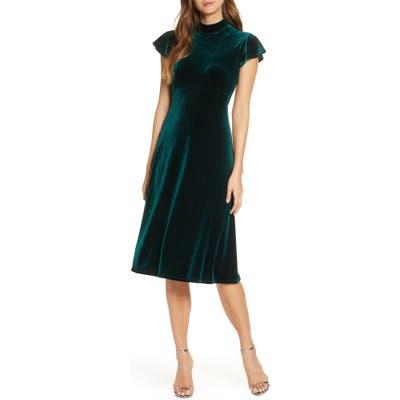 Vince Camuto Mock Neck Velvet Dress, Green