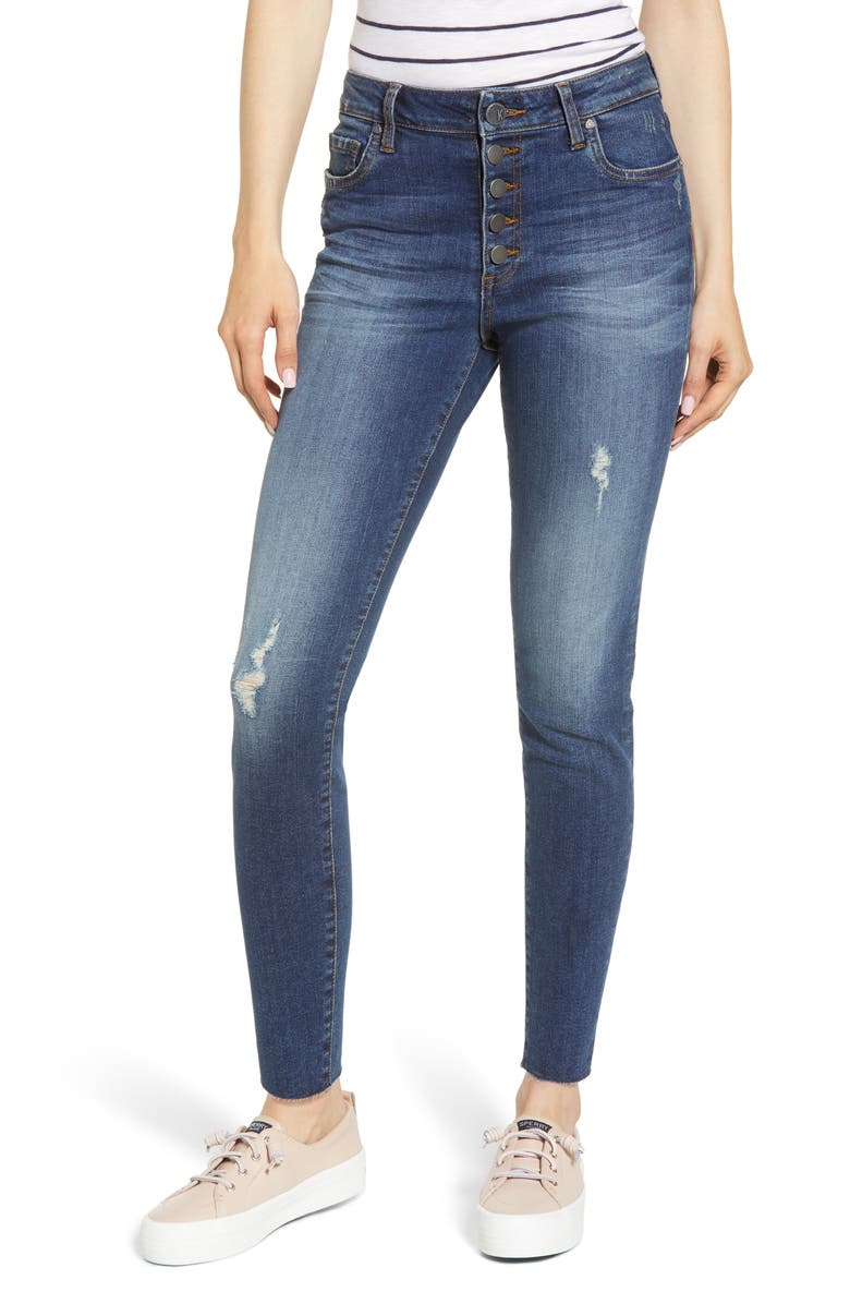 KUT FROM THE KLOTH Donna Button Fly Ankle Skinny Jeans, Main, color, 400