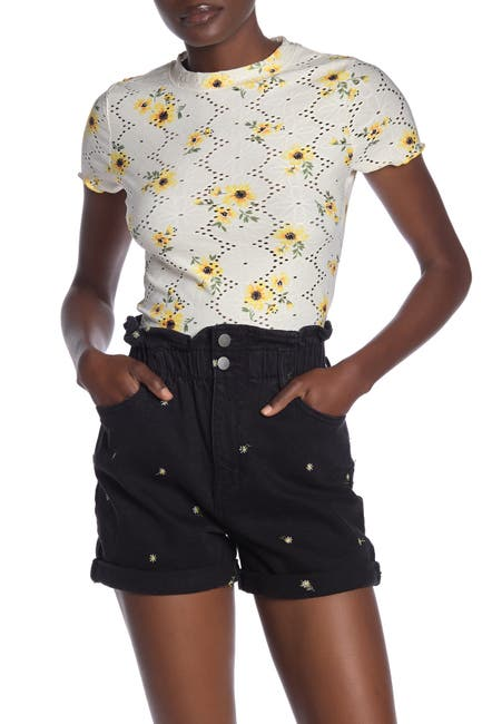 Image of Love, Fire Short Sleeve Floral Print Eyelet T-Shirt