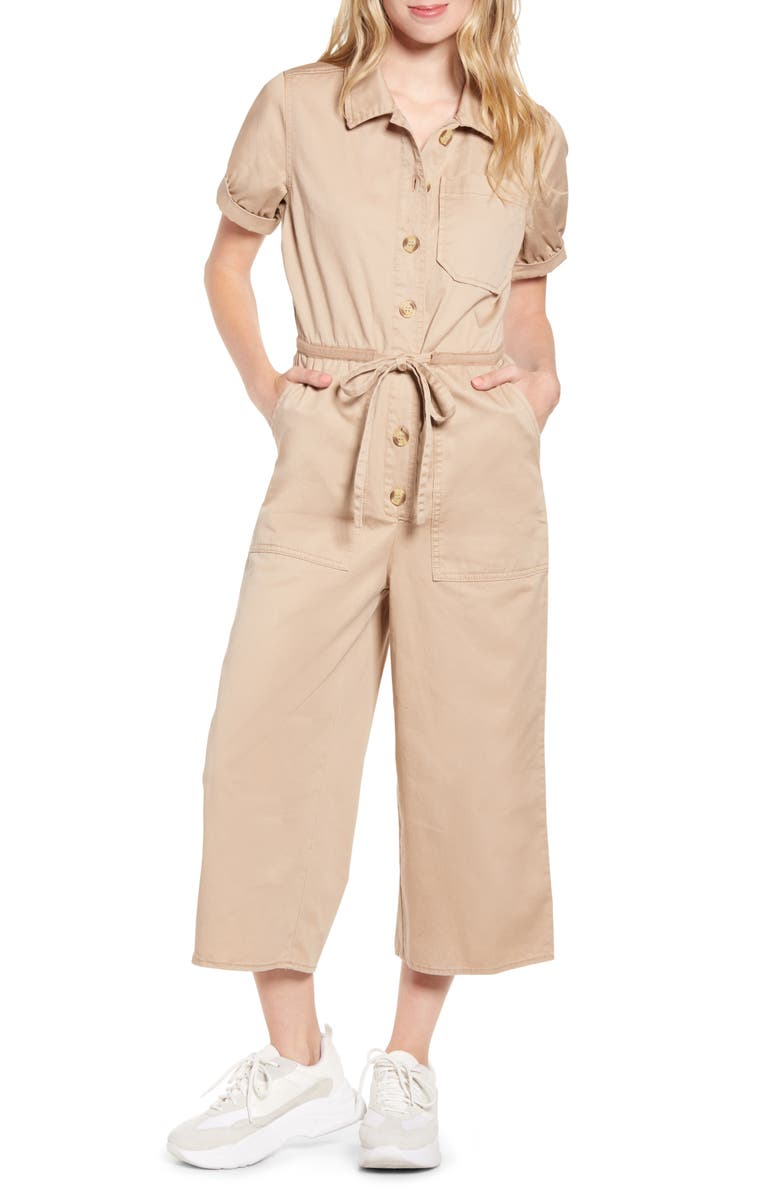PROSPERITY DENIM Tie Waist Utility Jumpsuit, Main, color, KHAKI