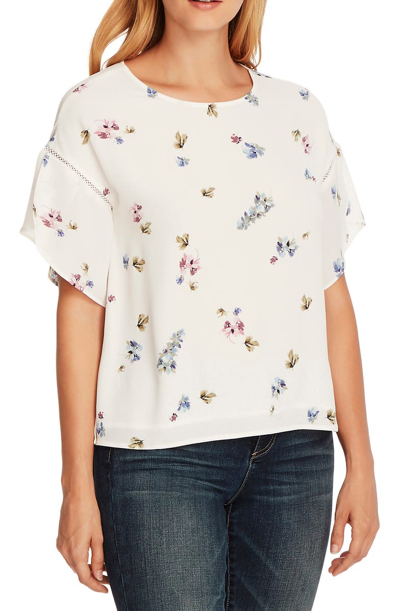 VINCE CAMUTO Romantic Buds Tulip Sleeve Top, Main, color, PEARL IVORY