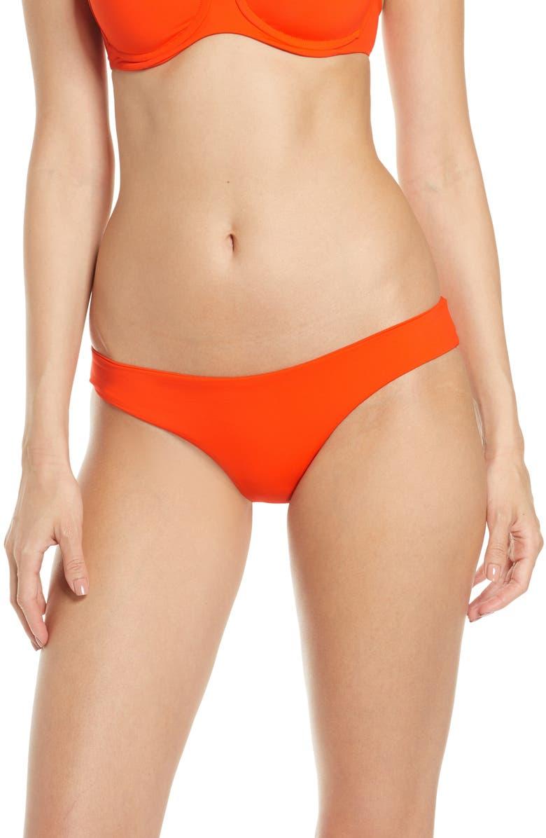 L SPACE Sandy Classic Bikini Bottoms, Main, color, POPPY