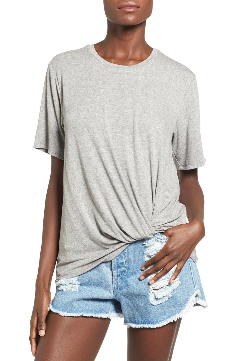 JUNE & HUDSON Knot Front Tee, Main, color, 020