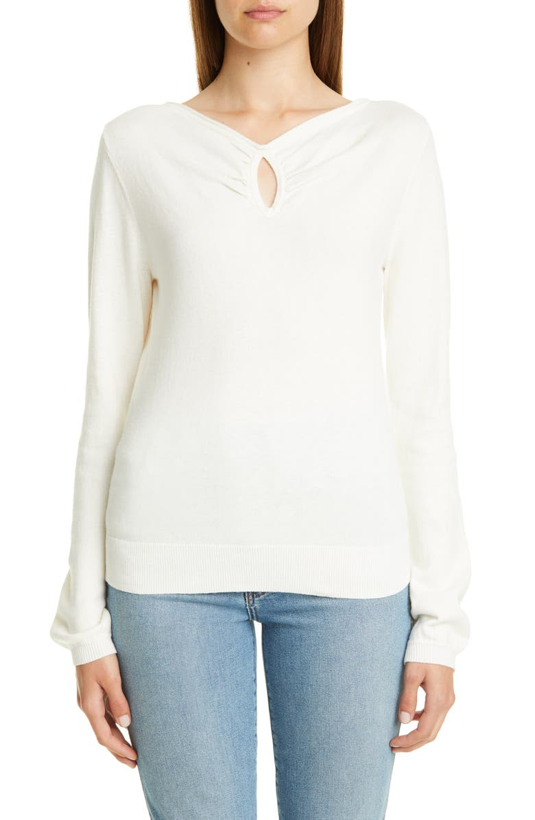 VICTOR GLEMAUD Keyhole Cotton & Cashmere Sweater, Main, color, WHITE