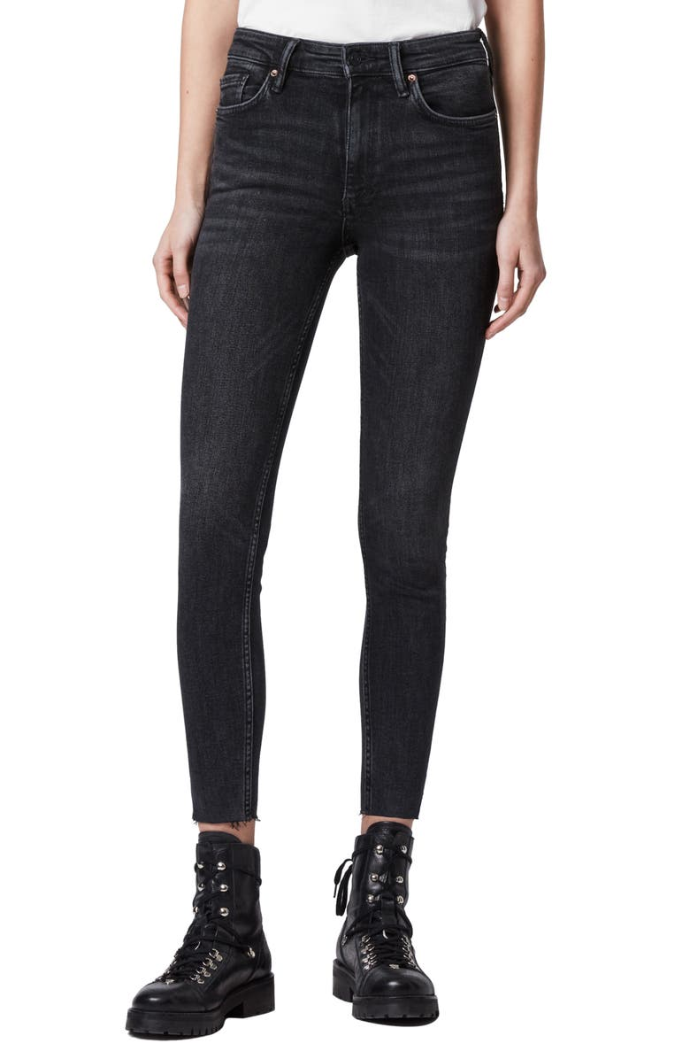 ALLSAINTS Dax Skinny Jeans, Main, color, ROCK BLACK