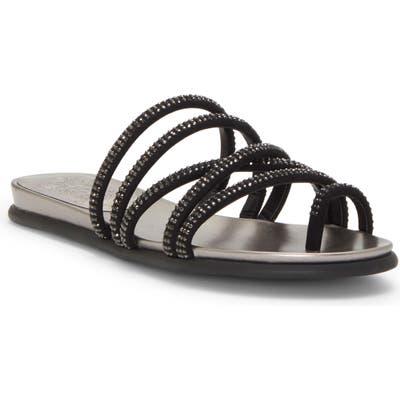 Vince Camuto Ezzina Crystal Embellished Slide Sandal, Black