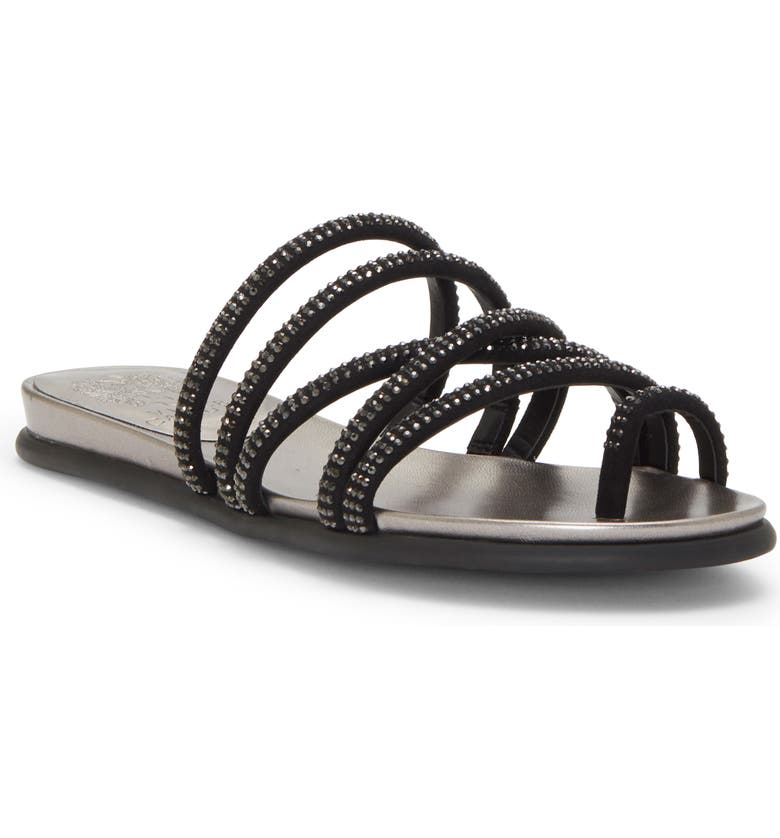 VINCE CAMUTO Ezzina Crystal Embellished Slide Sandal, Main, color, BLACK SUEDE