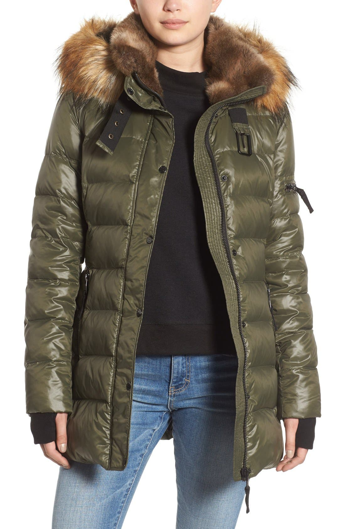 ,                             'Chelsea' Gloss Down Jacket with Removable Hood and Faux Fur Trim,                             Main thumbnail 6, color,                             330