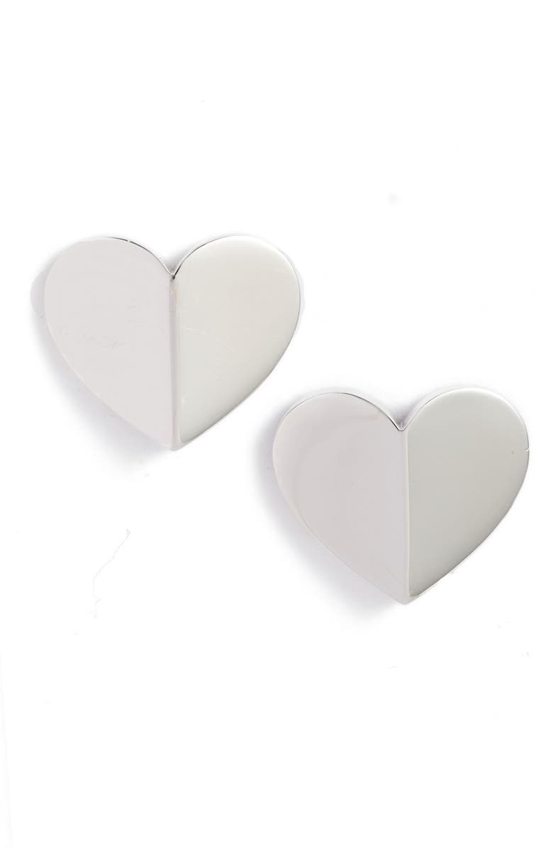 KATE SPADE NEW YORK heart statement stud earrings, Main, color, SILVER