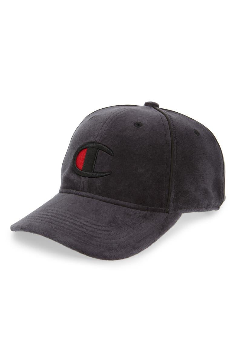 CHAMPION Velour Baseball Hat, Main, color, BLACK