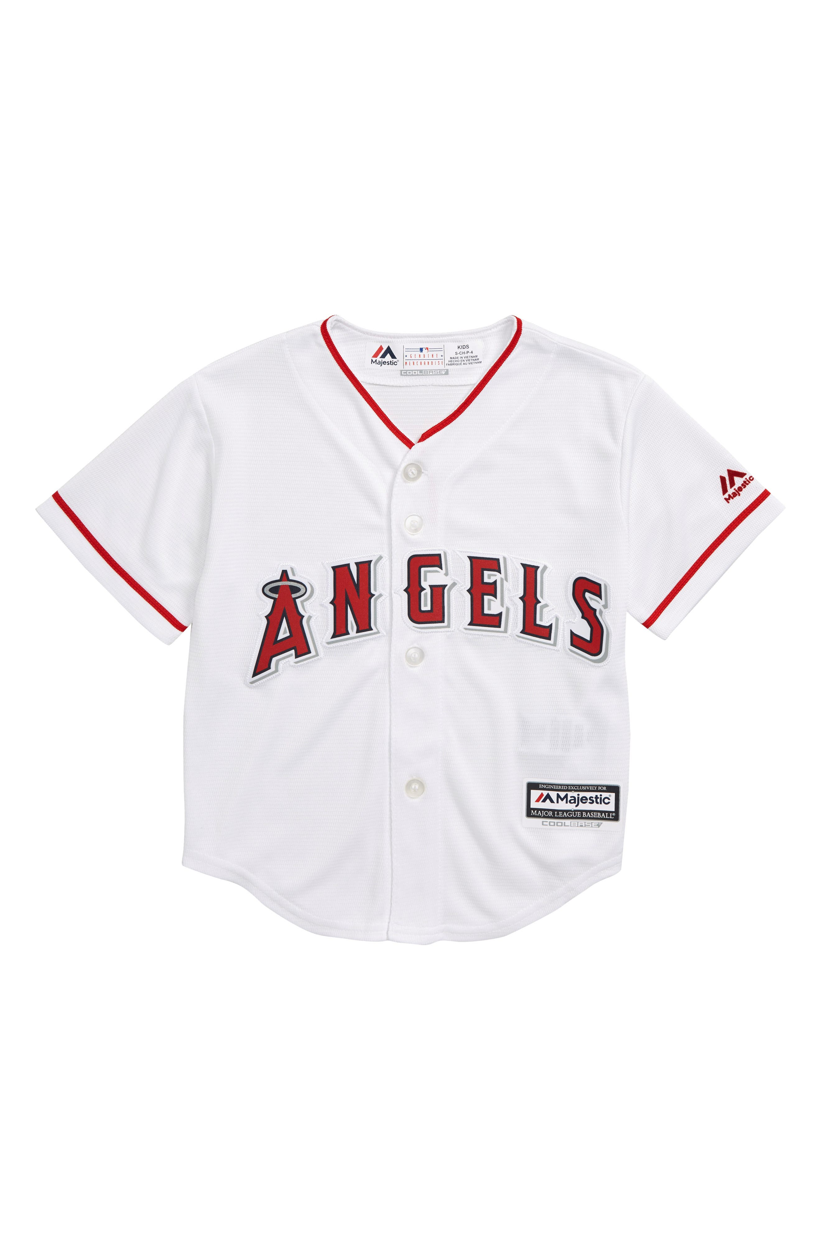 Los Angeles Angels Replica Baseball Jersey, Main, color, WHITE