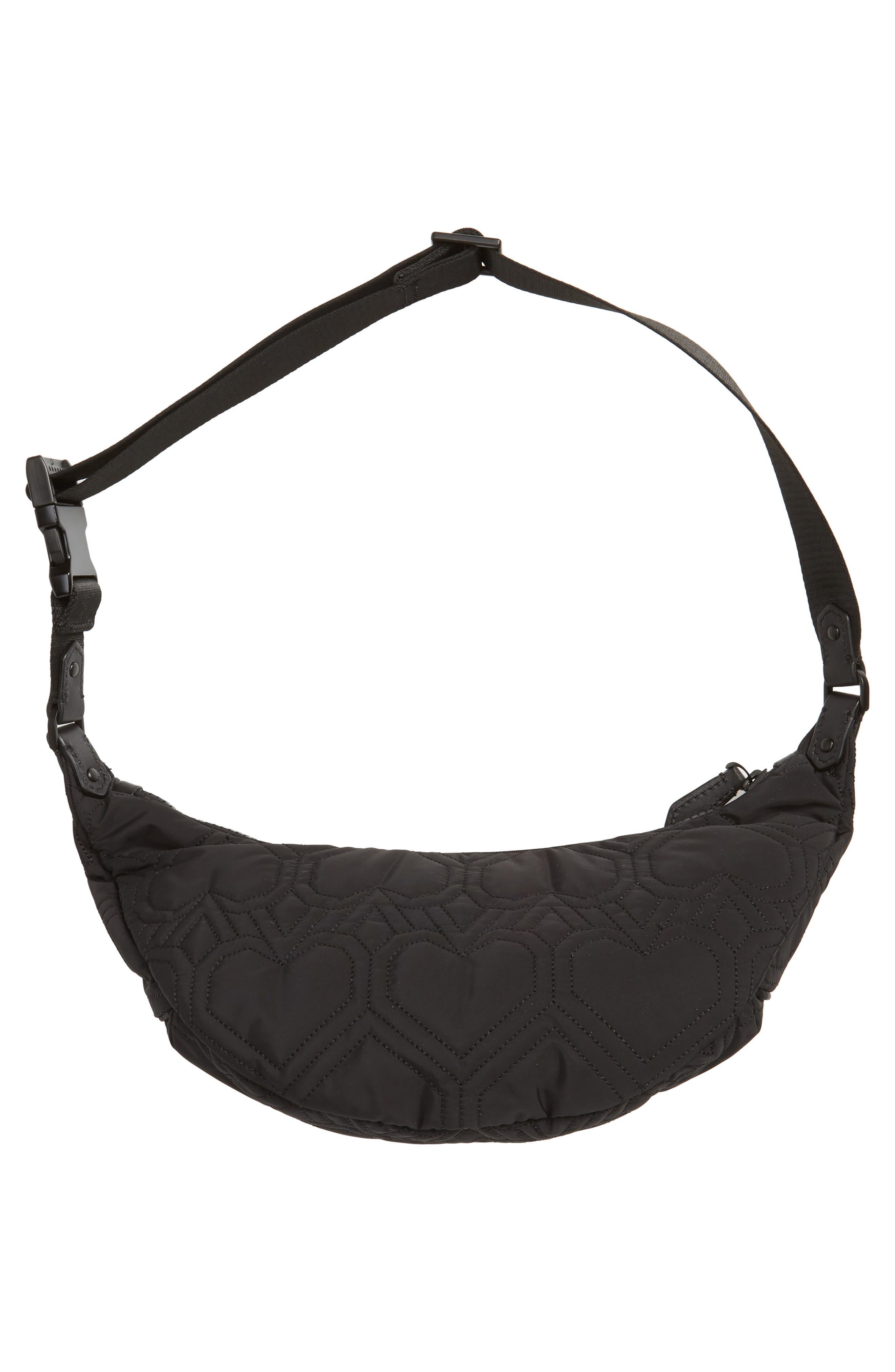 ,                             jayne heart quilted belt bag,                             Alternate thumbnail 7, color,                             BLACK