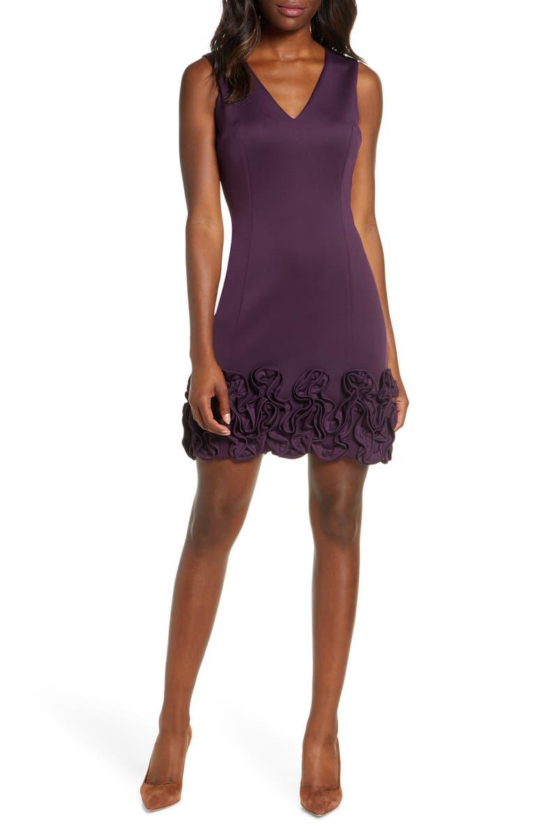 DONNA RICCO Cupcake Hem Scuba Sheath Dress, Main, color, DEEP PURPLE