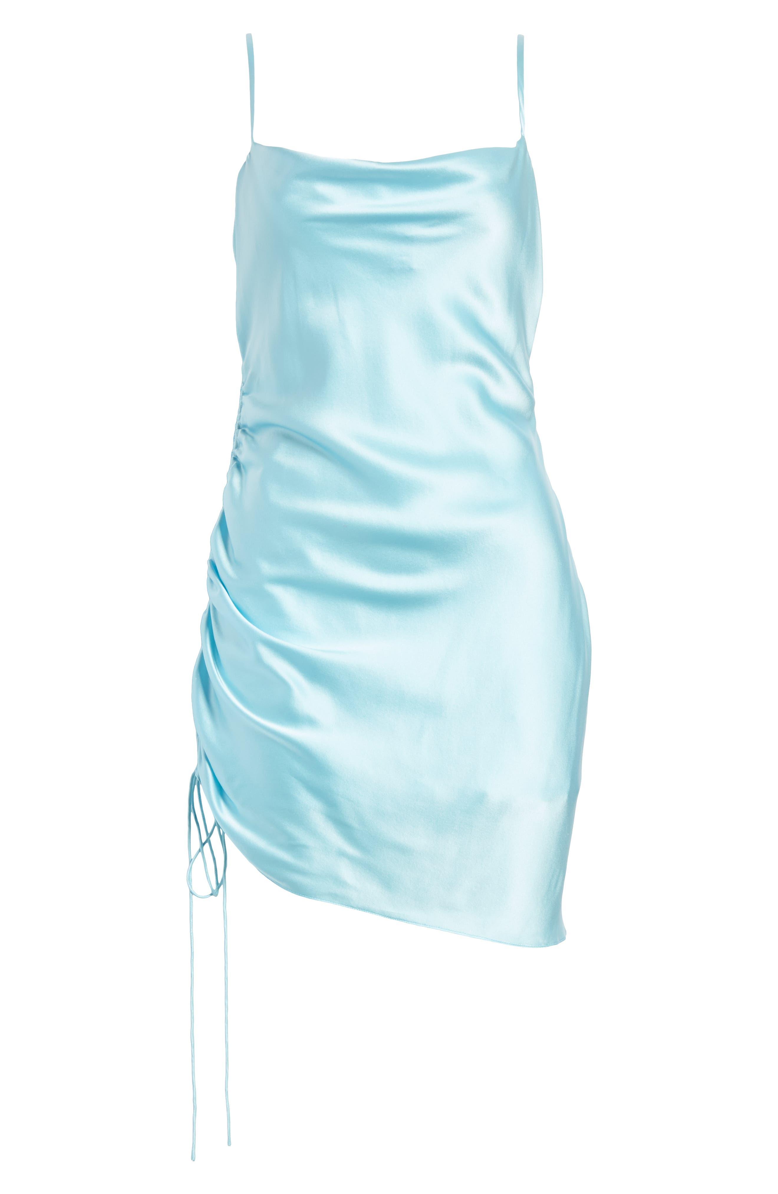 ,                             Astrid Ruched Silk Satin Slipdress,                             Alternate thumbnail 6, color,                             BLUE TOPAZ