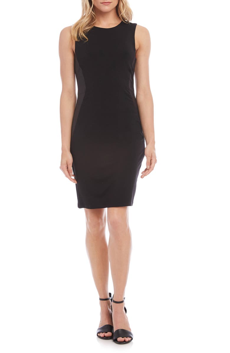 Faux Leather Inset Sheath Dress by Karen Kane