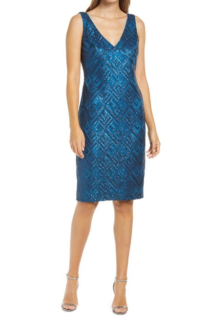 Image of Vince Camuto Sequin Sleeveless Sheath Cocktail Dress