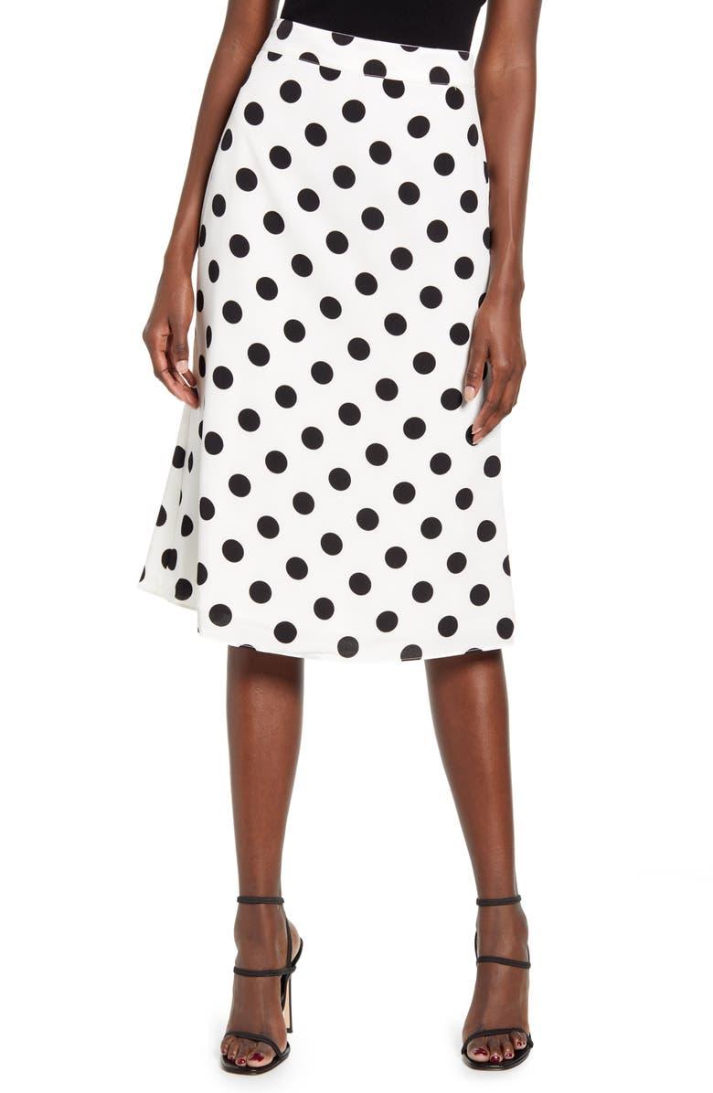 ENGLISH FACTORY Polka Dot Midi Skirt, Main, color, 114
