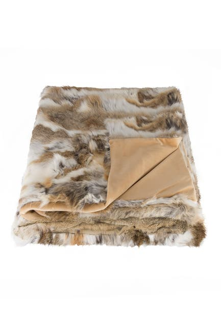 "Image of Natural Genuine Rabbit Fur Throw Blanket - 50"" x 60"" - Tan/White"