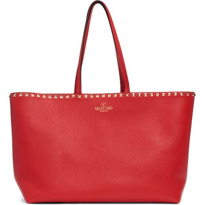 Valentino Garavani Rockstud Leather Tote - Red