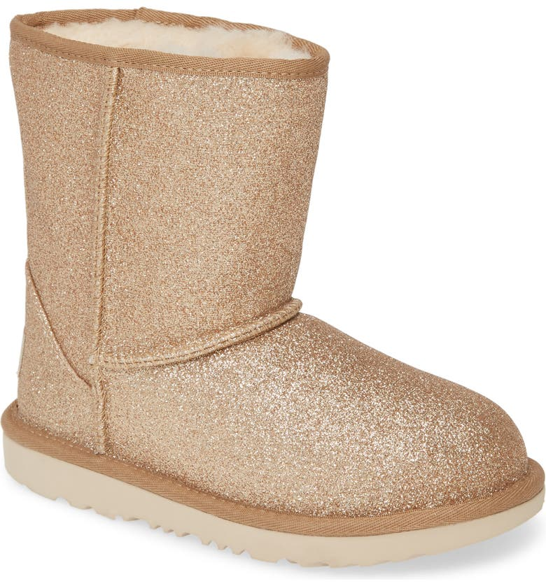 UGG<SUP>®</SUP> Classic Short II Glitter Boot, Main, color, METALLIC GOLD