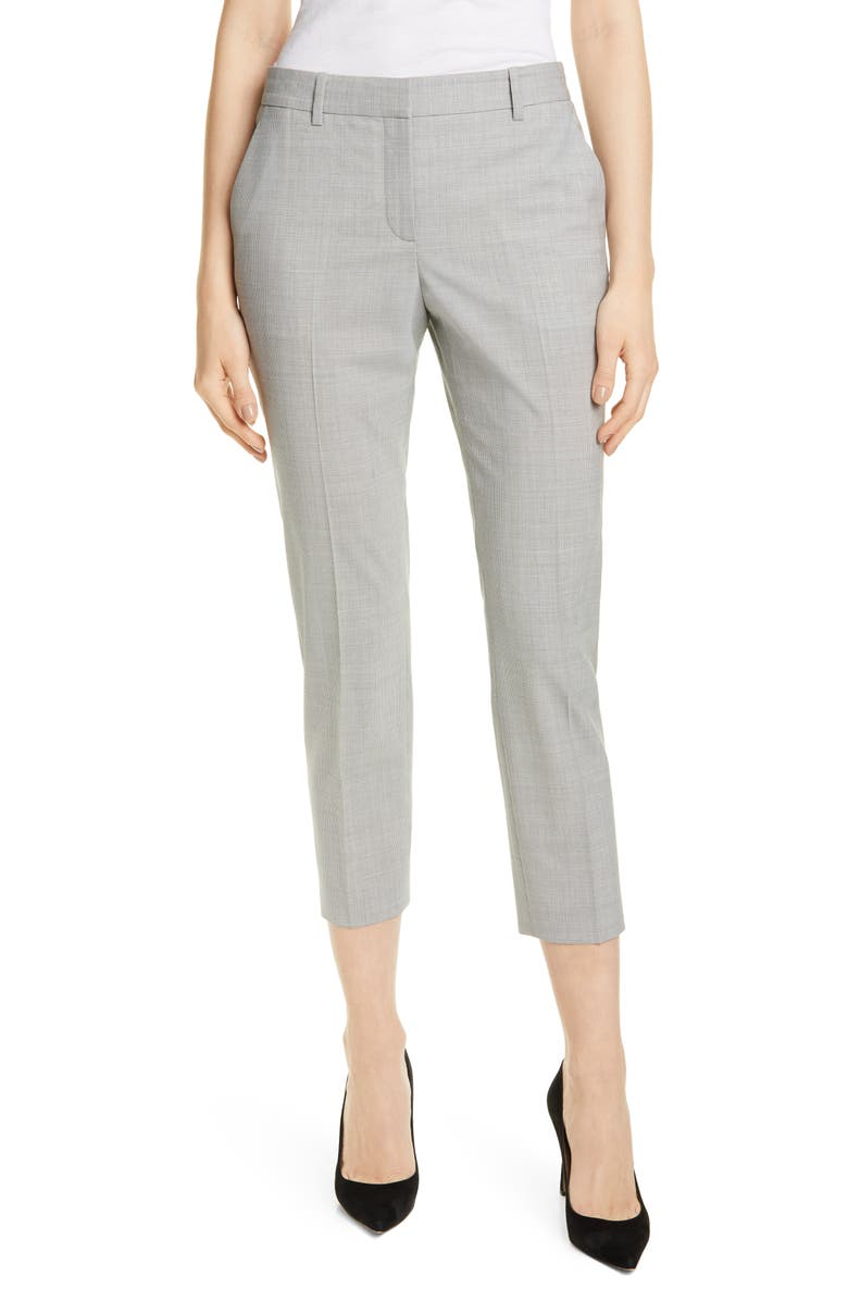 THEORY Treeca 2 Houndstooth Check Stretch Wool Trousers, Main, color, GREY MULTI