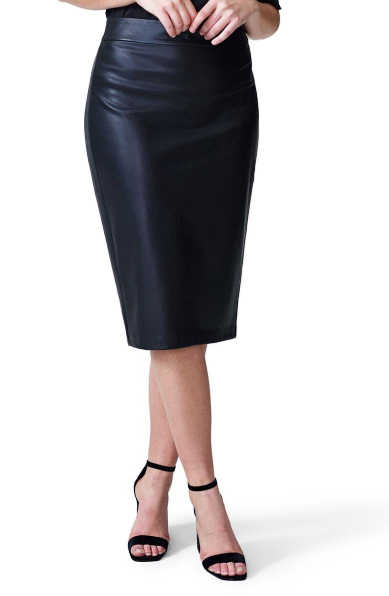 UNIVERSAL STANDARD Sillaro Faux Leather Pencil Skirt, Main, color, BLACK