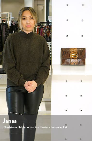 Snake Embossed Convertible Faux Leather Clutch, sales video thumbnail