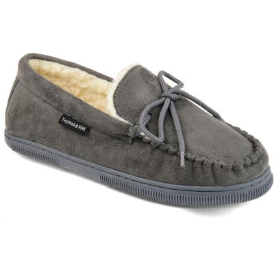 Thomas And Vine Orion Moccasin Slipper With Faux Fur, Grey