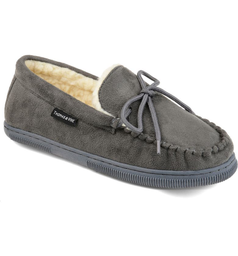 THOMAS & VINE Orion Moccasin Slipper with Faux Fur, Main, color, GREY FAUX SUEDE