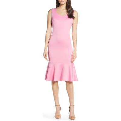 Forest Lily Scuba Dress, Pink