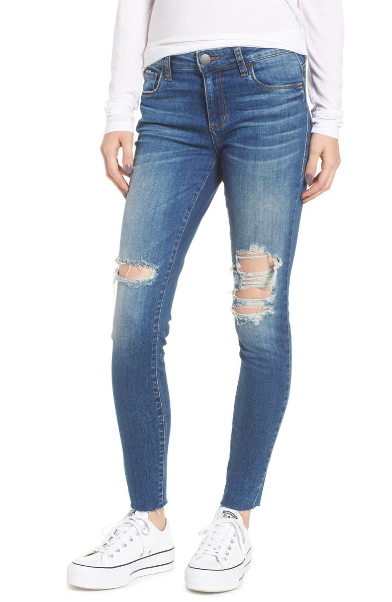 STS BLUE Emma Raw Hem Ankle Skinny Jeans, Main, color, 400