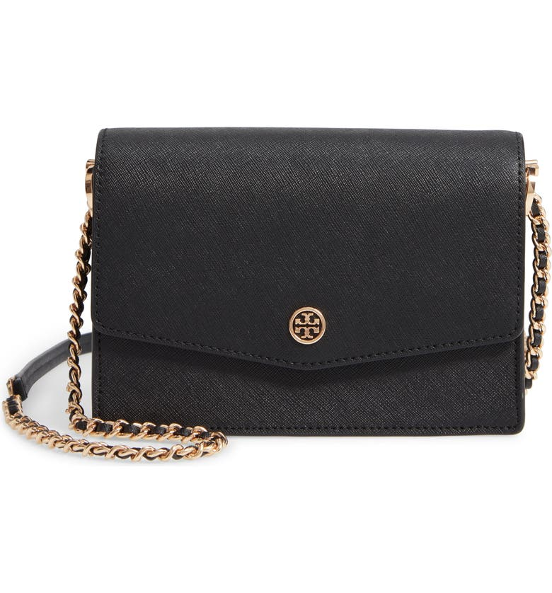 TORY BURCH Mini Robinson Leather Shoulder Bag, Main, color, BLACK