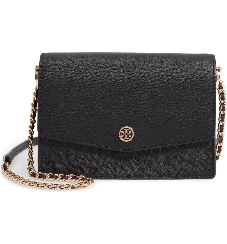 TORY BURCH Mini Robinson Leather Shoulder Bag, Main, color, BLACK