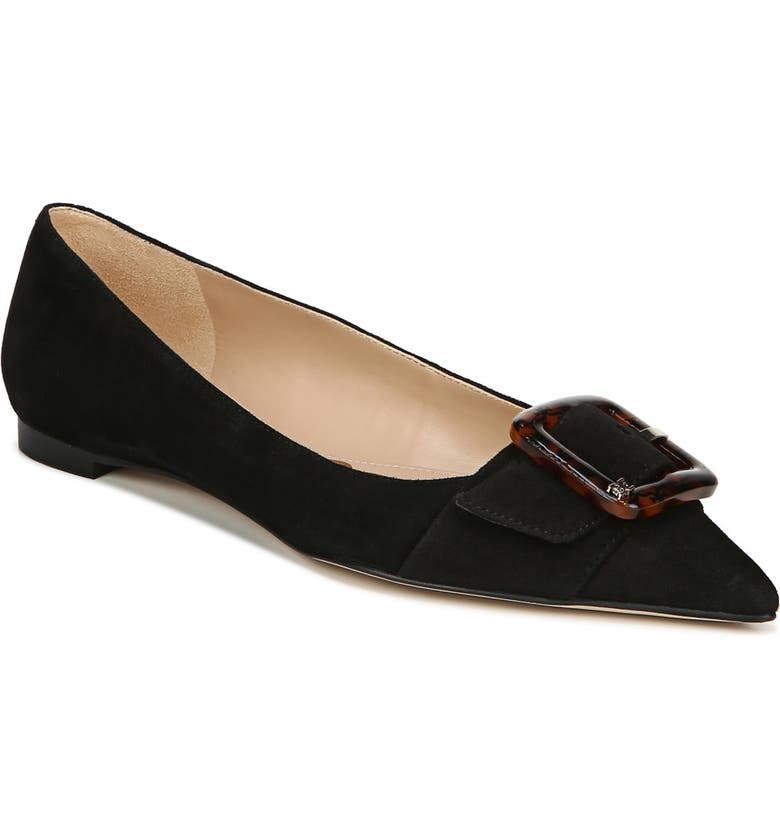 SAM EDELMAN Sonja Flat, Main, color, BLACK SUEDE