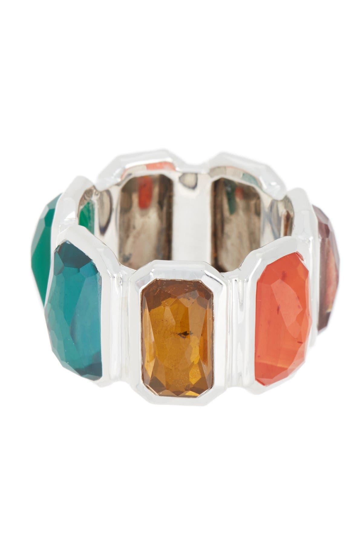 Image of Ippolita Sterling Silver Rock Candy® Wonderland Brick Ring in Metallic Rainbow