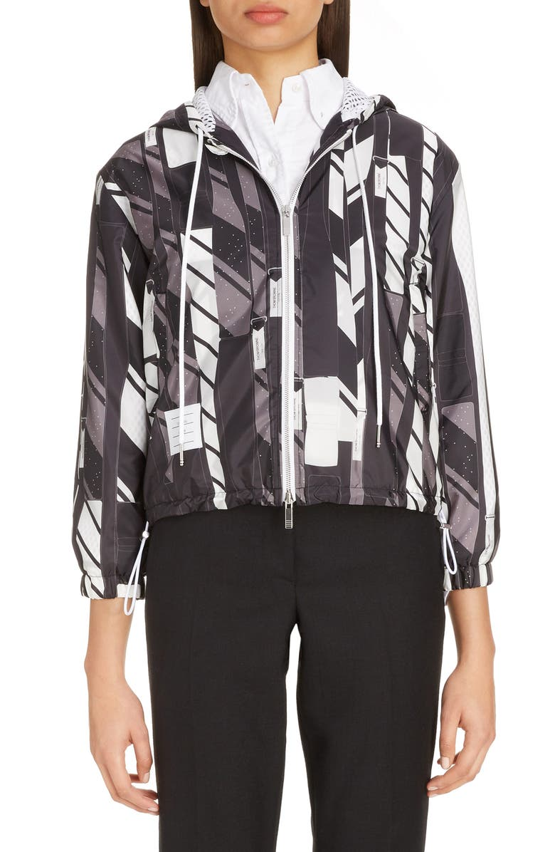 THOM BROWNE Tie Collage Print Hooded Jacket, Main, color, BLACK/ WHITE