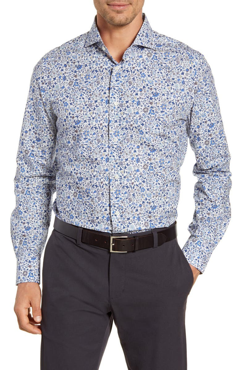 EMANUEL BERG Regular Fit Floral Button-Up Shirt, Main, color, BLUE
