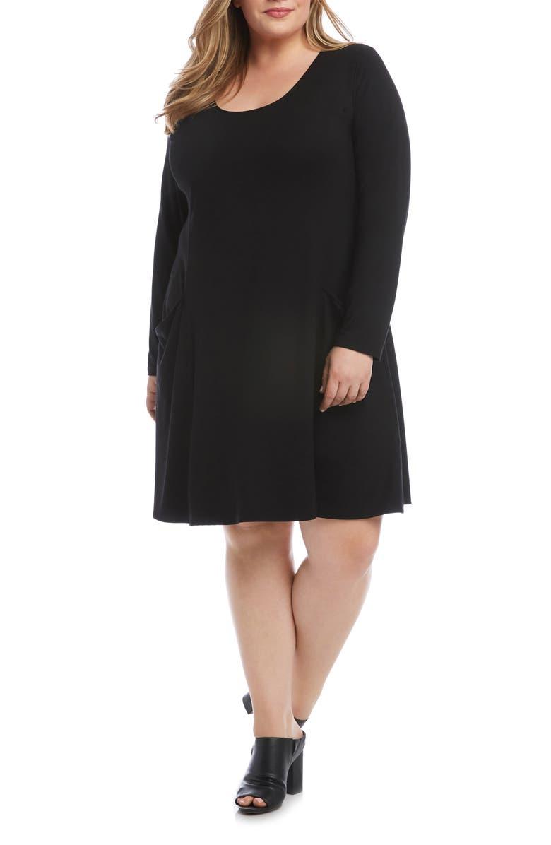 KAREN KANE Scoop Neck Pocket Dress, Main, color, BLACK