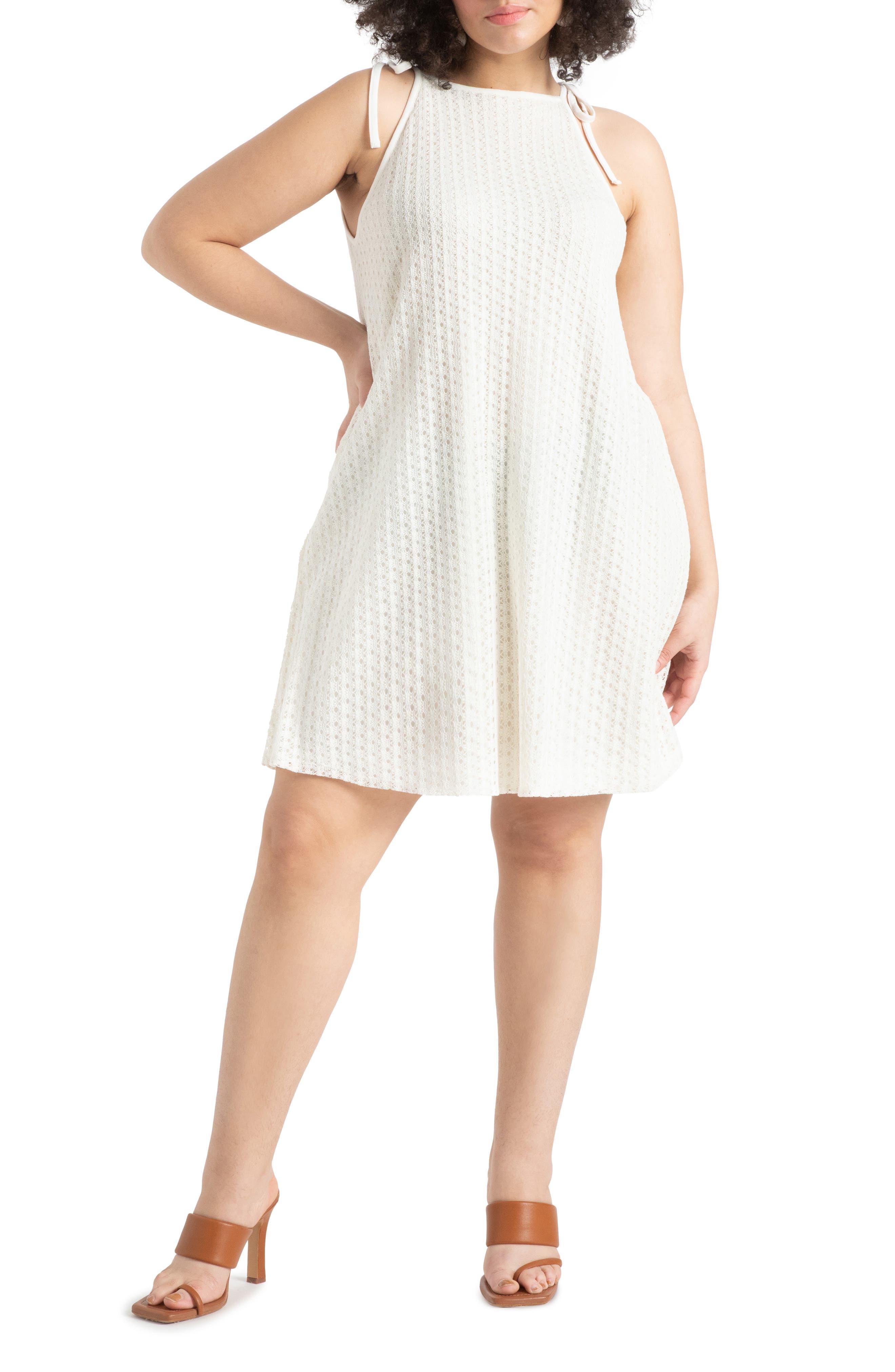 Halter Tie Shoulder Crochet A-Line Dress