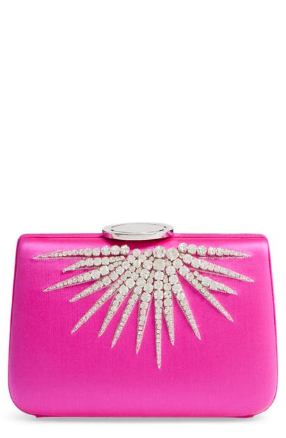 Giambattista Valli Starburst Box Clutch In Fuchsia/ Nickel