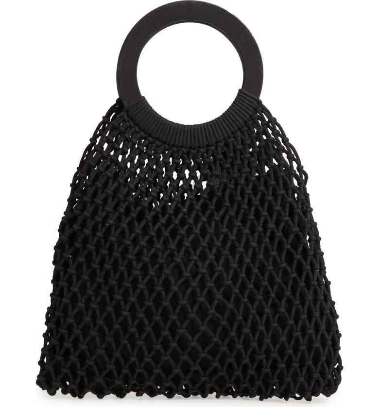 NORDSTROM Macramé Market Bag, Main, color, BLACK