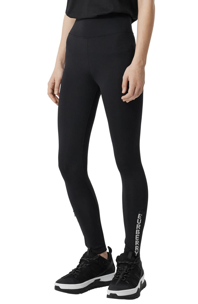 BURBERRY Vertical Logo Leggings, Main, color, BLACK