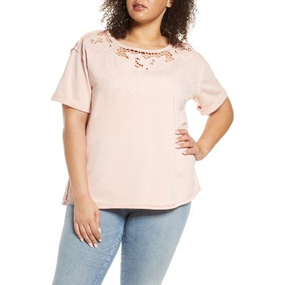 Plus Size Single Thread Embroidered Cutout Sweatshirt, Pink