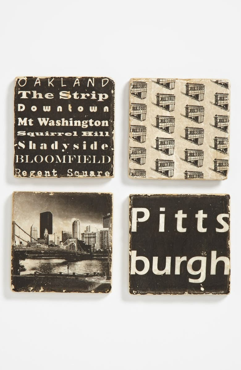 STUDIO VERTU 'Pittsburgh' Marble Coasters, Main, color, 000