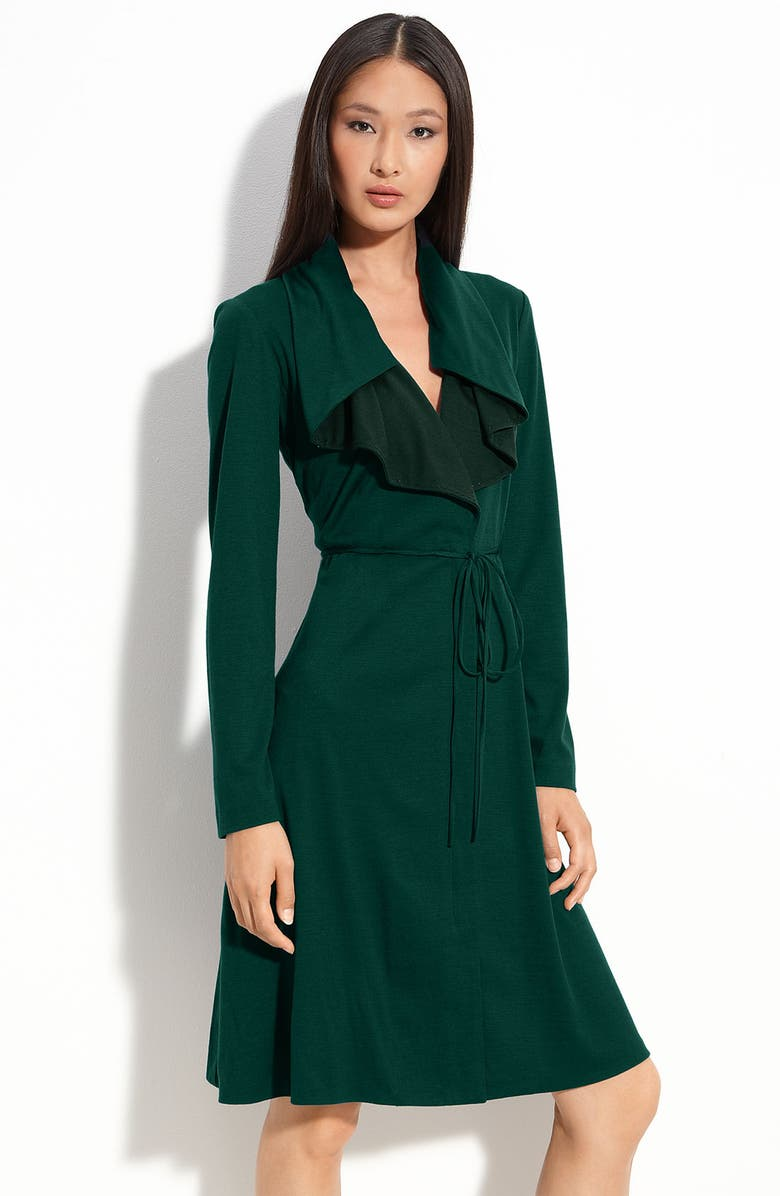 ELIE TAHARI 'Lauren' Long Sleeve Dress, Main, color, BOTTLE GREEN